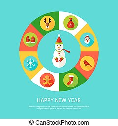 Happy New Year Infographic. Vector Illustration of Christmas...