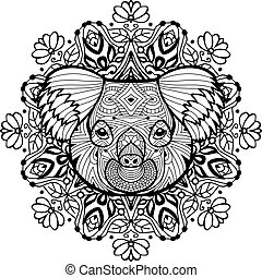 Totem coloring page for adults. The head of the Koala - The...