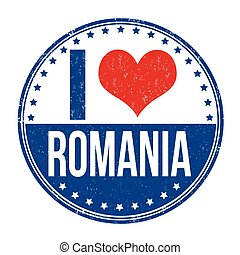 I love Romania sign or stamp