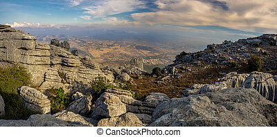 View from El Torcal de Antequera - Mountain view from El...