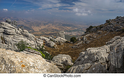 Viewpoint at El Torcal de Antequera - Mountain view from El...
