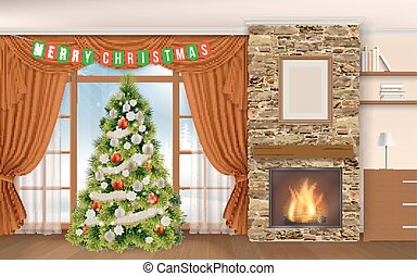 Living room with fireplace cristmas tree - Christmas...