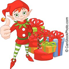 Red Haired Christmas Elf Holding Up a Thumb - Illustration...