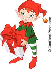 Christmas Elf with Gift - Illustration of red haired...