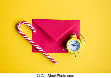 alarm clock and lolipop with red envelope - Christmas alarm...