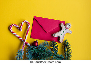 envelope and lolipop with cookie - Red christmas envelope...