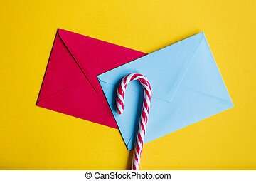 christmas envelopes with lolipop - Blue and red christmas...