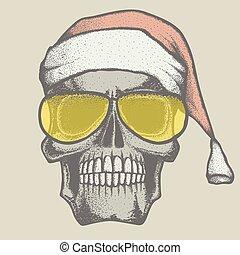 Vector skull illustration - Vector Christmas skull...