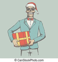 Vector skull illustration - Vector Christmas skull with gift...