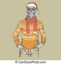 Vector skull illustration - Vector Christmas skull in skull...