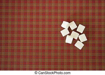 White sugar cubes. Copy space. Top view - White sugar cubes...
