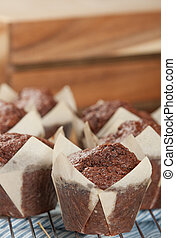 Homebaked Chocolate Muffins In Paper Cases. - Homebaked...