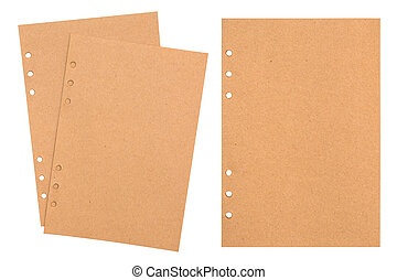 Notebook pages isolated. Craft paper texture.