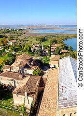 Aerial view of Santa Maria di Assunta cathedral on Torcello...