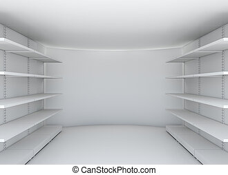 White room with steel shelves