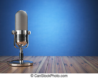 Retro old microphone. Radio show or audio podcast concept....