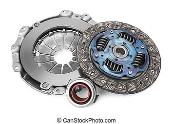 Disc and clutch basket with release bearing, isolated on...