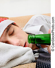 Young Man sleeping - Young Man sleep with Bottle of the Beer...