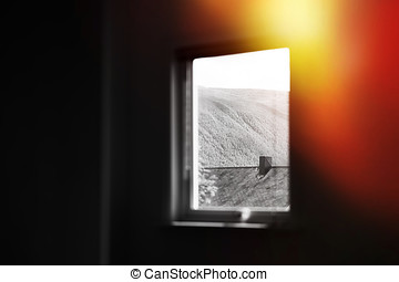 Black and white window with light leak backdrop hd