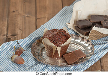 Homebaked Chocolate Muffin In Paper Case. - Homebaked...