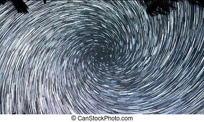 Stars leave traces. Spiral. Night, Russia. UltraHD (4K)