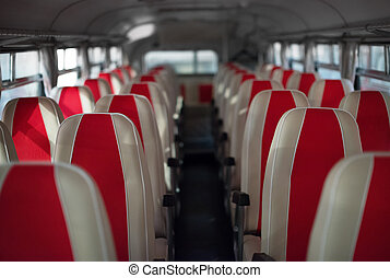Interior inside of the bus with seats.