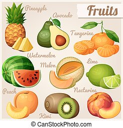 Set of food icons. Fruits. Pineapple ananas , avocado,...
