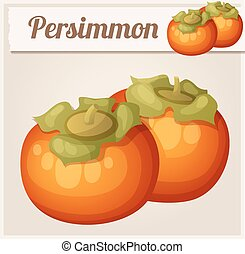 Persimmon fruit. Cartoon vector icon. Series of food and...