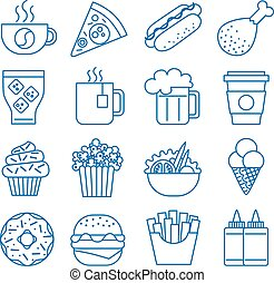 Fast food. Set of line icons