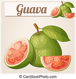 Guava fruit. Cartoon vector icon. Series of food and drink...