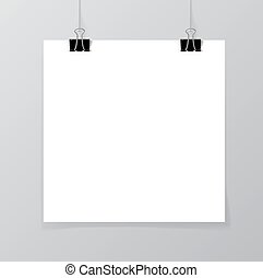 Poster mock up - Poster hanging on a thread with two black...