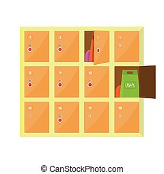 Lockers Vector Illustration in Flat Style Design. - Lockers...