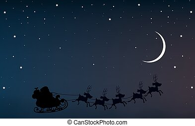Santa Claus in the night sky with a crescent moon and stars