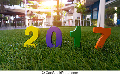 Concept number of Happy New Year 2017. - Wooden yellow,...