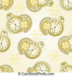 New Year  watches and lucky symbols vector.eps