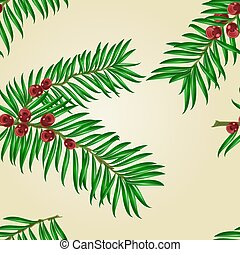 Seamless texture Yew branches with red berries vector.eps -...