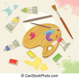Artist palette. Vector flat cartoon illustration