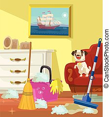 Cleaning banner. Living room. Vector flat cartoon...