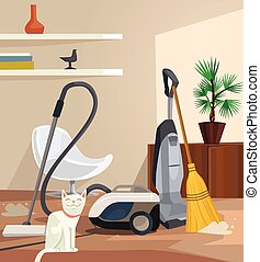 Cleaning banner. Office room. Vector flat cartoon...