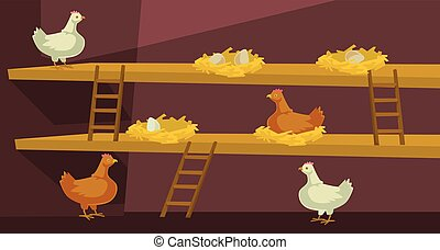Hen house with chicken. Vector flat cartoon illustration