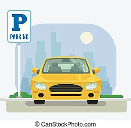 Parking place with one car. Vector flat cartoon illustration