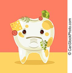 Dirty tooth character with food. Vector flat cartoon illustration
