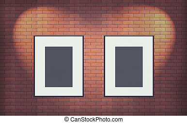 Two Old blank photo frame on brick wall Interior