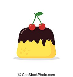 pudding with a cherry - vector pudding with red cherry on a...