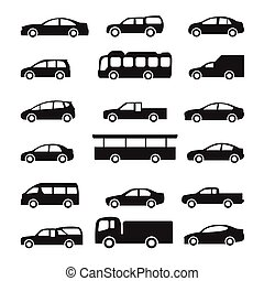 Cars icons vector set. Silhouettes of vehicles collection on...