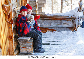 Kids outdoors on winter - Kids outdoors on beautiful winter...