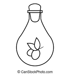 Bottle with olive oil icon, outline style - Bottle with...
