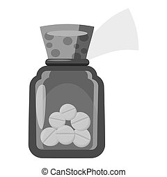 Glass bottle with tablets icon
