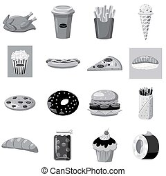 Fast food icons set, gray monochrome style - Fast food icons...