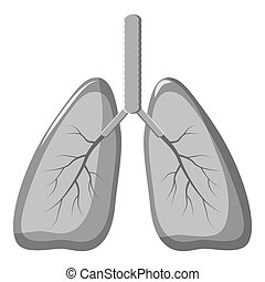 Human lungs icon, gray monochrome style - Human lungs icon....